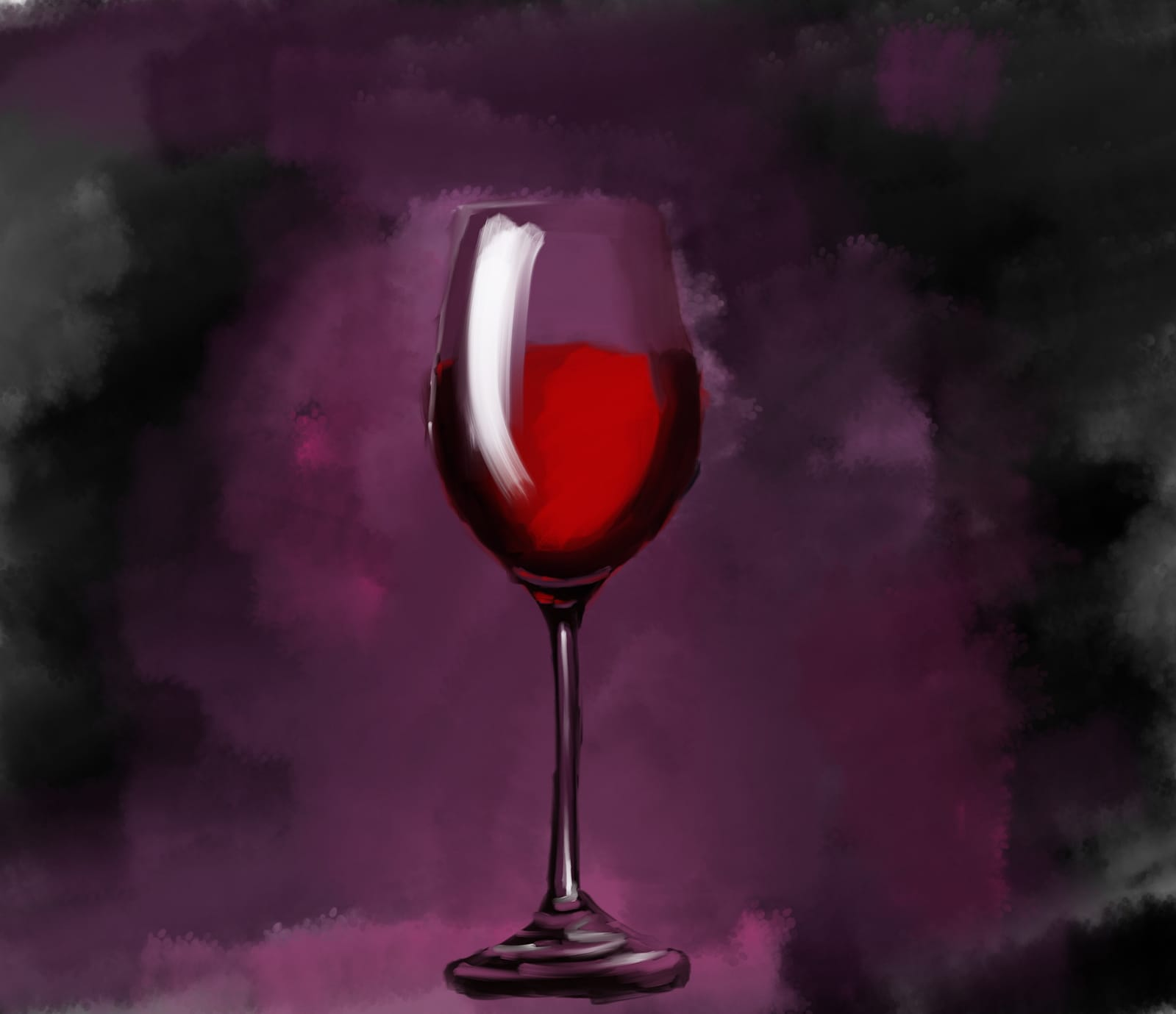 calice di vino rosso dipinto